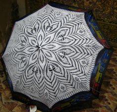 Knitted crochet umbrella (no pattern) Crochet Beret, Crochet Collar, Crochet Chart, Filet Crochet, Crochet Doilies, Crochet Lace, Crochet Stitches, Lace Umbrella, Lace Parasol