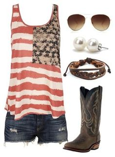 Love this outfit! Merica' all day! Classy up a country look with some pearls and accessories. Trend Fashion, Fashion Moda, Look Fashion, Womens Fashion, Fashion Styles, Fashion Ideas, Fashion Beauty, Winter Fashion, Summer Wear