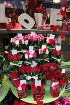 Valentine's Day display in florist shop.