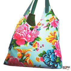 192566a344 GRETA sac / Cabas de créateur boheme bleu grosses fleurs rouge rose jaune original  bandoulières cuir