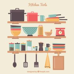 More than a million free vectors, PSD, photos and free icons. Exclusive freebies and all graphic resources that you need for your projects (Bake Tools Illustration) Kitchen Tops, Kitchen Art, Kitchen Display, Kitchen Prints, Kitchen Design, Flat Illustration, Food Illustrations, Rolling Pin Display, Digital Art Tutorial