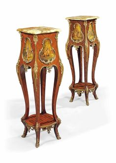 A PAIR OF FRENCH ORMOLU-MOUNTED KINGWOOD, PARQUETRY AND VERNIS MARTIN PEDESTALS -  LATE 19TH CENTURY
