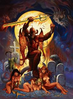 A devil and some succubi just hanging out in a graveyard; art by Ken Kelly