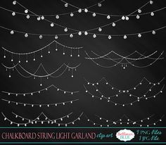 Chalkboard String Light Garland Clipart by BellhavenBlue on Etsy