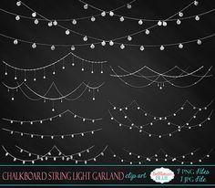 Tafel String Licht Girlande Clipart von BellhavenBlue auf Etsy