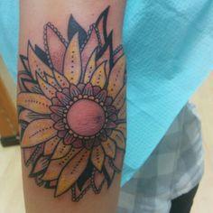 My new sunflower elbow tattoo.