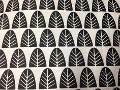 Finnish Kuusipuu cotton fabric, one yard, black white retro minimal from Finland