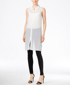 kensie Sheer Tunic Shirt & Faux-Leather-Trim Ponte Leggings