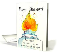 General / Over the Hill Birthday Humor One Big candle Greeting Card by Brian Payne