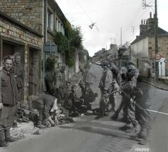 German soldiers surrendering, France, 1944. | 26 Ghostly Images Of World War Two, Blended With The Present