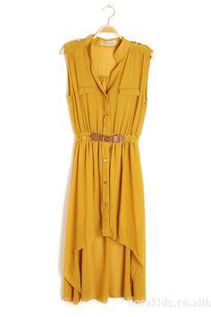 Yellow Vintage Buckle Waist Shirt Dress