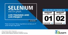 Selenium with Java Live Training + Live Project Selenium is the latest version of Testing Automation which allows you to execute multiple tests on different platforms and browsers at the same time. Karthik Kosireddi our expert trainer in Selenium, comes out with a unique Selenium with Java live training with practical sessions on live projects.  Please find our contact details below: +1-314-827-5272 (US)  +91-837-4323-742 (India)  #ITeLearn #Selenium #LiveProject #LiveTraining