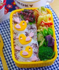 9 Bento Lunch Ideas - Chicken Bento - mom.me  [Apparently I could've tried harder as a lunch-packing mom :/ ]