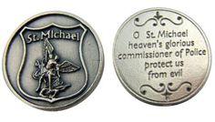 Amazon.com: Religious Catholic Gift Archangel Saint St Michael Police Badge Design Pocket Token Keepsake Coin: Home & Kitchen