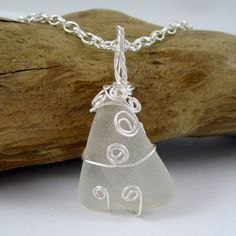 Wire Wrapped Seaglass Necklace White by HCJewelrybyRose on Etsy