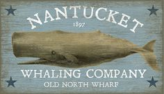 Nantucket Whale Art Sign