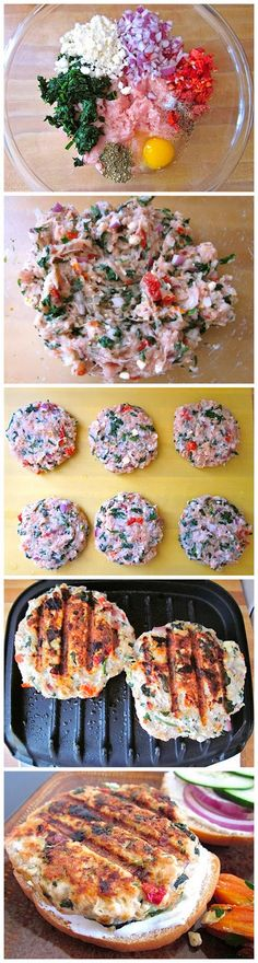 Greek Turkey Burgers by budgetbytes via firstyum #Burgers #Turkey #Spinach #Feta #Greek #Healthy