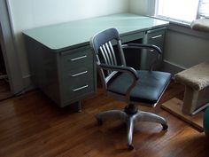 Craigslist finds. Steelcase double pedestal tanker desk & a 50's General Fireproofing #2327 Goodform chair. Paid $80 for the desk and $50 for the chair.