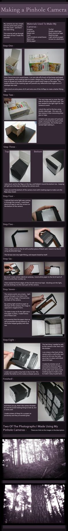 This tutorial shows how I made my Pinhole cameras for a project at University. They are very simple, but they work well. How to use the pinhole camera - In a darkroom, cut the light sensitive paper...