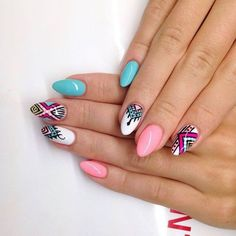 by Ania Leśniewska Idndigo Educator :) Find more inspiration at… sarah_weth Fabulous Nails, Perfect Nails, Gorgeous Nails, Love Nails, Fun Nails, Pretty Nails, Tribal Nails, Aztec Nail Art, Indigo Nails