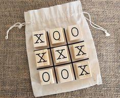 Tic Tac Toe Wood Blocks with Bag - Basteln Scrabble Crafts, Wooden Crafts, Cute Crafts, Crafts To Sell, Wood Craft Patterns, Wood Games, Tic Tac Toe Game, Block Craft, Wood Blocks