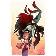 Wendi Chen Marceline & Bubblegum ($20) ❤ liked on Polyvore featuring adventure time, art, anime, backgrounds and cartoons