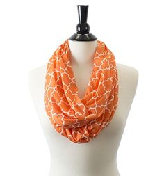 Pop Fashion Womens Infinity Scarf w/ Zipper Pocket & Pattern Print, Infinity Scarves (24.5 x 9.5, Orange)