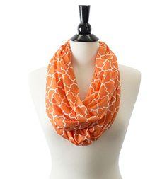 Pop Fashion Womens Infinity Scarf w/ Zipper Pocket & Pattern Print, Infinity Scarves (24.5 x 9.5, Orange)