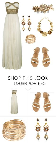 """Grecian Goddess"" by elisabethscott ❤ liked on Polyvore featuring Marchesa, Ancient Greek Sandals, Erickson Beamon, Oscar de la Renta and Vera Wang"