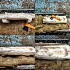 Fruitera de fusta tallada / wood fruit bowl carved