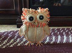 Burlap and Metal Orange, Tan Owl decoration for interior harvest decor #Unbranded
