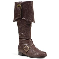 Mens Brown Buckle Pirate Boots Large - Click image twice for more info - See a larger selection womens men's pirate costume at http://costumeriver.com/product-category/men/ - mens, holiday costume , event costume , halloween costume, cosplay costume, classic costume, scary costume, pirate, classic costume, clothing