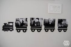Modern Train Themed Birthday Party train of photos of the birthday boy! perfect party decoration for a modern train themed second birthday party- simple to cut using the cricut