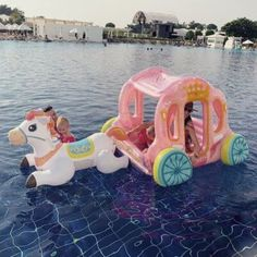 This Inflatable Horse Carriage Pool Float Makes You Feel Like A Queen Cute Pool Floats, Pool Floats For Kids, Inflatable Water Park, Inflatable Island, Rosalie, Baby Pool, Summer Pool, Cool Pools, Cool Items