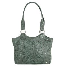 Zip-Top Fashion Tote with side open pockets. Inside has zipper pocket and pouches. Hand-tooled vegetable tanned antique turquoise leather, hand rubbed for a unique finish. Accented with silver spots and top-stitch design. Each handbag features a silver signature keepsake and includes a protective storage bag. Each piece is made by hand, one at a time. This item is backed by the American West Lifetime Guarantee    DIMENSIONS:   14 x 10 x 3.5