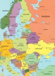 Eastern Europe Map, World Map Europe, World Map With Countries, Europe Map Printable, World Map Printable, Satellite Image Map, European Map, Germany Poland, Asia Map