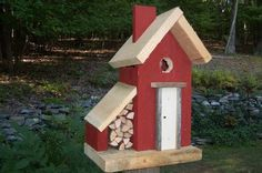 Woodshed birdhouse handcrafted from new and vintage barn wood from Birdhouse Brokerage