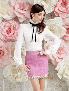 Morpheus Boutique  - PInk Knit Designer Lady Celebrity Lace Hemline Trendy Skirt, $69.99 (http://www.morpheusboutique.com/products/pink-knit-designer-lady-celebrity-lace-hemline-trendy-skirt.html)