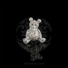 Luke Stockley Sterling Silver & Marcasite Teddy Bear Brooch | Alexandra May Jewellery