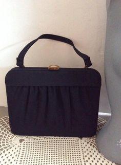 Vintage 1940s 1950s Handbag Purse Dark Blue Faille Fabric