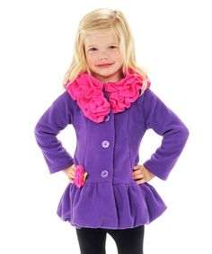 Mack & Co Purple & Hot Pink Ruffle Collar Coat - Infant & Toddler | zulily