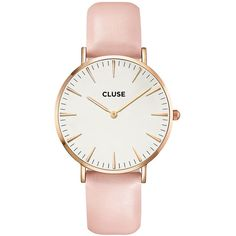 Cluse La Boheme Leather Watch ($105) ❤ liked on Polyvore featuring jewelry, watches, accessories, rose gold white pink, leather watches, bohemian style jewelry, pink leather watches, leather wrist watch and boho chic jewelry