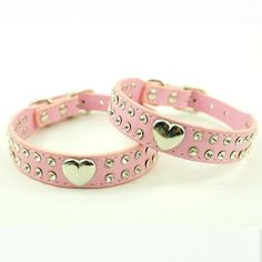 Namsan Puppy Dog Pet Doggie Cats Leather Collars Necklaces With Lovely Heart Charm Bling Crystal (black,blue,pink,red,rose) and(XS ,Small, Medium, Large) *** Quickly view this special cat product, click the image : Cat Collar, Harness and Leash