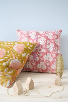 Kickcan & Conkers: Anew (Make pillow covers from quilted saris! Great texture and pattern)