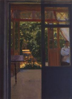 On the Balcony, 1901, by Konstantin Somov (Russian, 1869-1939)