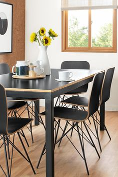 Casual dining room with our Salter dining chairs and Parsons dining table