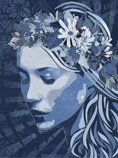 """Midsummer Girl"" by Ian Berry, made of old jeans. Try painting with different color base to get a feel of how more complicated colors work."