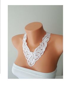 FREE SHIPPING Wedding White Laced Necklace  #handmade #wedding #bride #sparkly #accessories #weddingideas