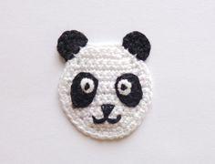 Crochet Panda Applique 2pcs - From Cotton Yarn- Crochet Supplies For Clothing, Hair Clips, Handbags on Etsy, $4.00