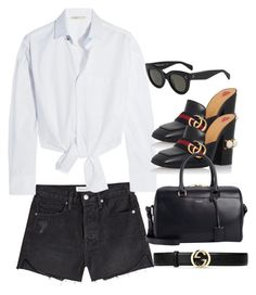 """""""Sin título #3263"""" by camilae97 ❤ liked on Polyvore featuring Frame, Gucci, Maje, Yves Saint Laurent and CÉLINE"""